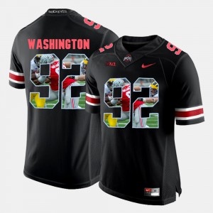 Mens #92 Ohio State Buckeyes Pictorial Fashion Adolphus Washington college Jersey - Black