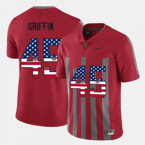 Men #45 US Flag Fashion Ohio State Archie Griffin college Jersey - Scarlet