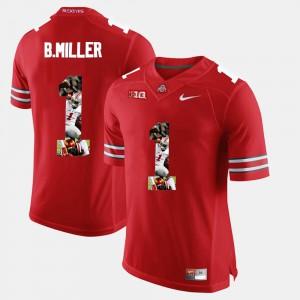 Mens Buckeye Pictorial Fashion #1 Braxton Miller college Jersey - Scarlet