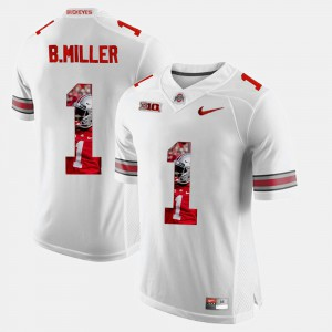 Mens #1 Ohio State Buckeye Pictorial Fashion Braxton Miller college Jersey - White