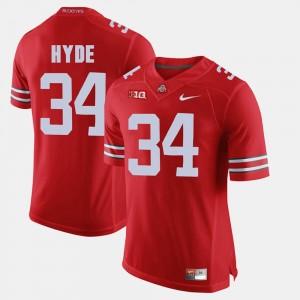 Men's Ohio State #34 Alumni Football Game CameCarlos Hyde college Jersey - Scarlet