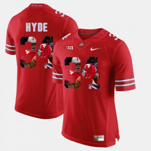 Men's Ohio State Buckeyes #34 Pictorial Fashion CameCarlos Hyde college Jersey - Scarlet