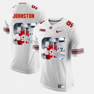 Mens #95 OSU Buckeyes Pictorial Fashion Cameron Johnston college Jersey - White