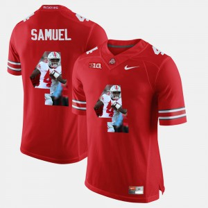Mens #4 OSU Buckeyes Pictorial Fashion Curtis Samuel college Jersey - Scarlet