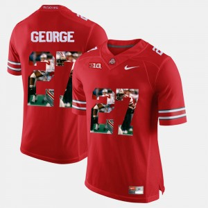 Mens Ohio State Buckeye #27 Pictorial Fashion Eddie George college Jersey - Red
