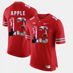 Men's #13 Eli Apple college Jersey - Scarlet Pictorial Fashion OSU Buckeyes