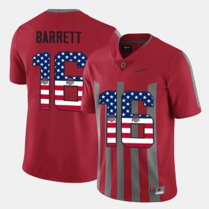Men's #16 Buckeyes US Flag Fashion J.T. Barrett college Jersey - Scarlet