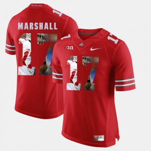 Men's #17 Pictorial Fashion Buckeyes Jalin Marshall college Jersey - Scarlet