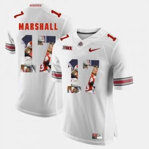 Mens #17 Ohio State Buckeye Pictorial Fashion Jalin Marshall college Jersey - White