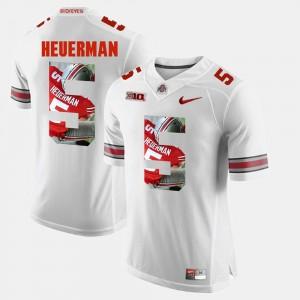 Men's Pictorial Fashion #5 Ohio State Buckeyes Jeff Heuerman college Jersey - White