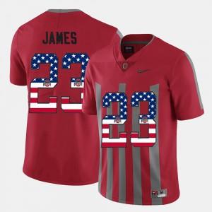 Men #23 Lebron James college Jersey - Scarlet US Flag Fashion OSU Buckeyes