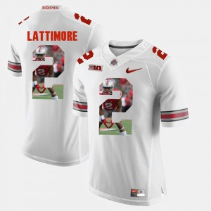 Mens #2 Pictorial Fashion Ohio State Buckeyes Marshon Lattimore college Jersey - White