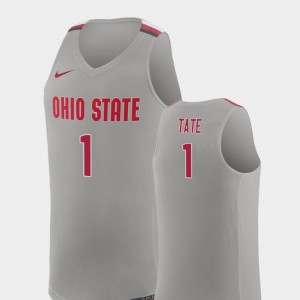 Men's Replica Basketball Buckeye #1 Jae'Sean Tate college Jersey - Pure Gray