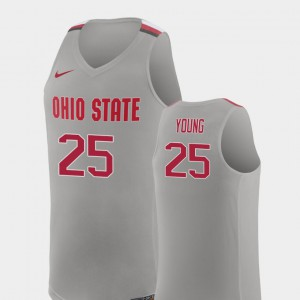 Men's Replica #25 Basketball Ohio State Buckeye Kyle Young college Jersey - Pure Gray