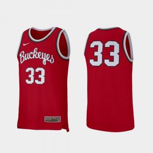 Men's Basketball Retro Performance Buckeye #33 college Jersey - Scarlet