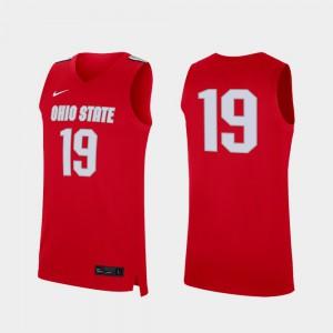 Mens Basketball Replica #19 Buckeye college Jersey - Scarlet