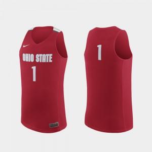 Mens Buckeyes Replica #1 Basketball college Jersey - Scarlet