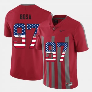 Mens Ohio State Buckeyes #97 US Flag Fashion Nick Bosa college Jersey - Scarlet