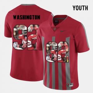 Kids #92 Ohio State Buckeyes Pictorial Fashion Adolphus Washington college Jersey - Red