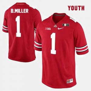 Kids #1 Football Ohio State Braxton Miller college Jersey - Red