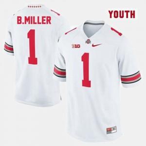 Kids Football Buckeye #1 Braxton Miller college Jersey - White
