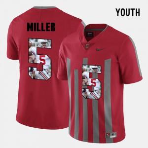 Kids Buckeye #5 Pictorial Fashion Braxton Miller college Jersey - Red