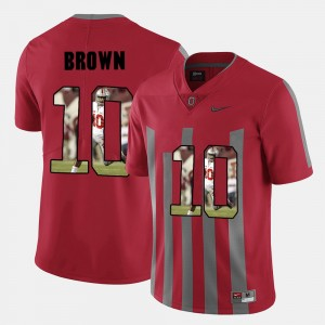 Men's #10 Pictorial Fashion Ohio State CaCorey Brown college Jersey - Red