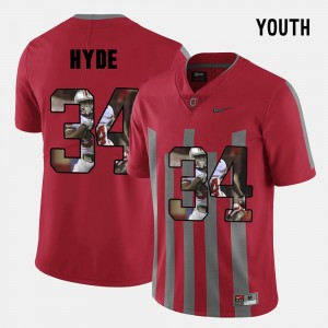 Kids Pictorial Fashion #34 Ohio State CameCarlos Hyde college Jersey - Red
