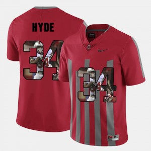 Men's Pictorial Fashion #34 OSU CameCarlos Hyde college Jersey - Red