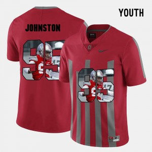 Youth #95 Cameron Johnston college Jersey - Red Pictorial Fashion OSU