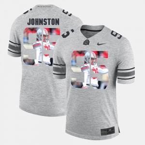 Men's Buckeyes #95 Pictorital Gridiron Fashion Pictorial Gridiron Fashion Cameron Johnston college Jersey - Gray
