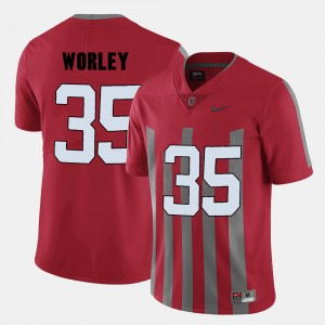 Men's Ohio State Football #35 Chris Worley college Jersey - Red
