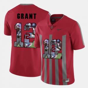 Men's OSU Buckeyes #12 Pictorial Fashion Doran Grant college Jersey - Red