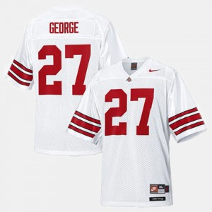 Men #27 Football Ohio State Buckeyes Eddie George college Jersey - White