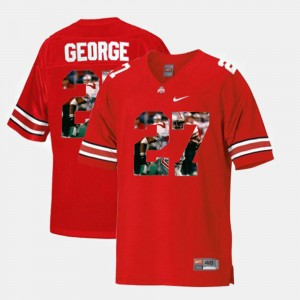 Men's Throwback Ohio State #27 Eddie George college Jersey - Scarlet