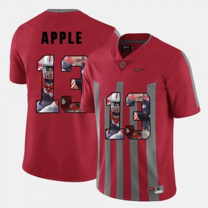Mens #13 Pictorial Fashion Ohio State Buckeye Eli Apple college Jersey - Red