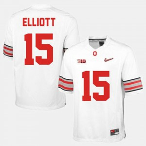 Men's Football #15 Ohio State Buckeye Ezekiel Elliott college Jersey - White