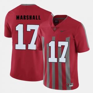 Men Football #17 OSU Buckeyes Jalin Marshall college Jersey - Red