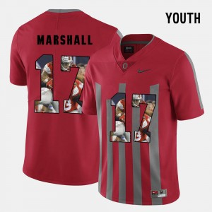 Youth(Kids) #17 Ohio State Pictorial Fashion Jalin Marshall college Jersey - Red