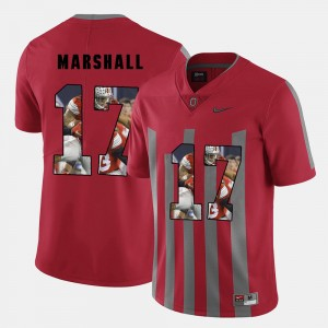 Men's #17 Pictorial Fashion Buckeye Jalin Marshall college Jersey - Red