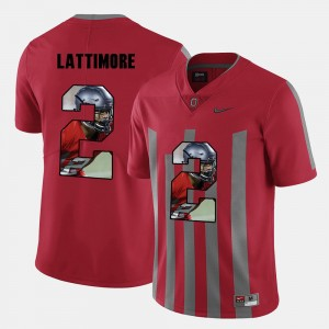 Men Ohio State Buckeye #2 Pictorial Fashion Marshon Lattimore college Jersey - Red