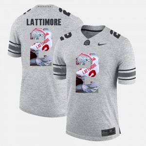 Mens Pictorital Gridiron Fashion Ohio State #2 Pictorial Gridiron Fashion Marshon Lattimore college Jersey - Gray