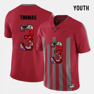 Youth Ohio State Buckeye #3 Pictorial Fashion Michael Thomas college Jersey - Red