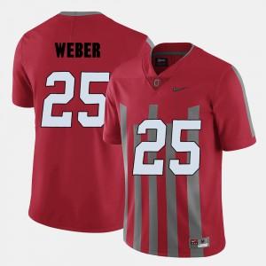 Men's #25 Football OSU Buckeyes Mike Weber college Jersey - Red