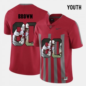 Kids Pictorial Fashion Ohio State Buckeye #80 Noah Brown college Jersey - Red