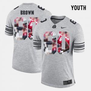 Kids #80 Pictorial Gridiron Fashion Pictorital Gridiron Fashion Buckeye Noah Brown college Jersey - Gray