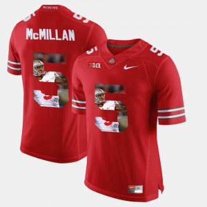 Men's Pictorial Fashion Buckeye #5 Raekwon McMillan college Jersey - Scarlet
