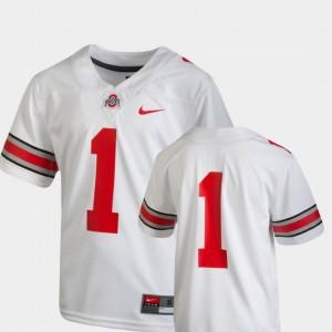 Kids Team Replica Football Buckeye #1 college Jersey - White