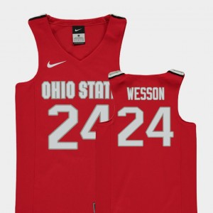 Kids Basketball Replica #24 Ohio State Andre Wesson college Jersey - Red
