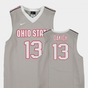Youth Ohio State Buckeyes Replica Basketball #13 Andrew Dakich college Jersey - Gray